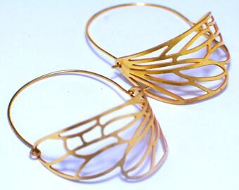 Dragonfly wings earrings. Dangle earrings. Brass earrings  Modern Jewelry. gold. wing, dragonfly, statement,