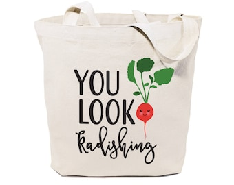 You Look Radishing Cotton Canvas Reusable Grocery Bag and Farmers Market Tote Bag, Food Pun, Shopping, Funny Women's Gift, Valentine's Day