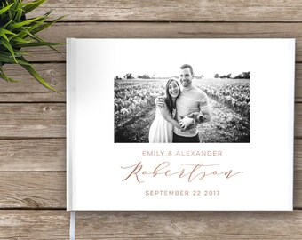 Photo Wedding Guest Book with real foil, Photo guest book, Gold Foil, Rose Gold Foil, Silver Foil, Real Foil, Wedding Journal