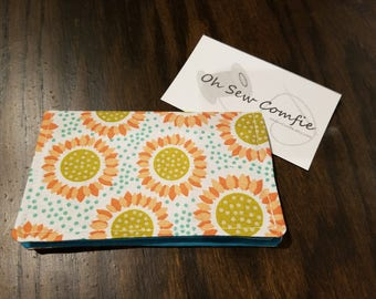 Fabric Business Card / Gift Card Holder - Happy Sunflowers with Teal Interior
