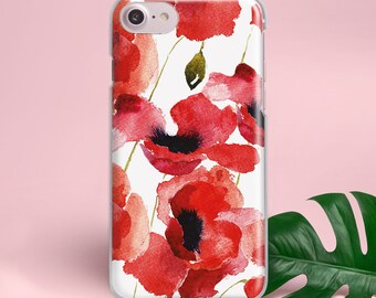 Red Flowers iPhone Case Floral Phone Case iPhone X Case Plastic iPhone 8 Case Silicone iPhone 7 Plus Case iPhone 6 Case iPhone 5 Case YZ1009