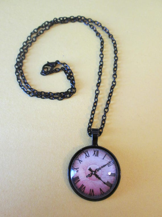 "1 New Antiqued Look Domed Glass Clock Theme Necklace 1"" Wide with an 18"" Black Chain"