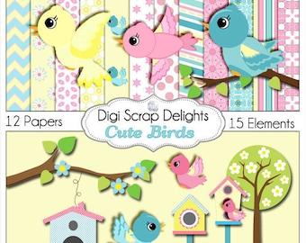 Cute Birds Clip Art  Scrapbook Kit  for Card Making, Webdesign, Crafts, Digital Scrapbooking, Instant Download