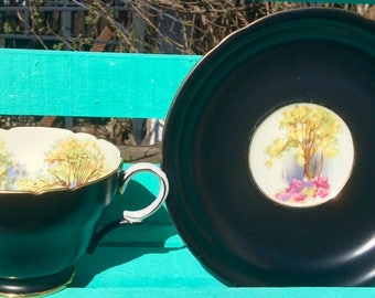 Pretty in Pink Stunning Shelley Hand PaintedTeacup and Saucer