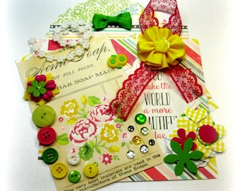 Pink Green Yellow/ Vintage Paper Supply / Junk Journal Supply / Planner Supply / Scrapbooking Kit / Card Making Kit / Mini Album Kit / Paper