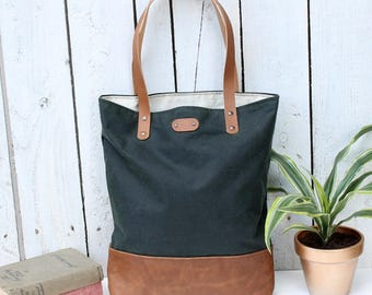 Waxed cotton & leather tote bag