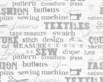 Kaufman - Sewing Studio - Words - Grey