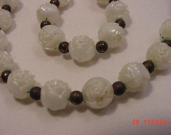 Vintage White Plastic Rose Bead Necklace  16 - 359