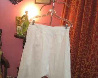"""1890's, 30"""" waist, white broad cloth cotton wide legged bloomers."""