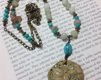 Ceramic Bird Necklace with Amazonite And Howlite