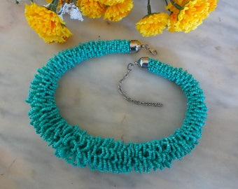 Seed Bead Necklace, Turquoise Seed Bead Necklace, Glass Bead Necklace, Loop Seed Bead Necklace, Boho Necklace, Festival Necklace