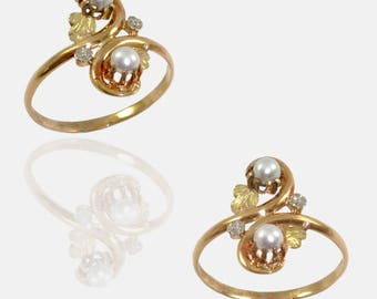 Ring you & me gold 18 k and freshwater pearls