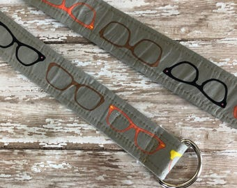 PERFECT GIFT - Fabric Belt - D Ring - Kitchy - Eye Glasses - Made in ANY Size - Boutique Mia