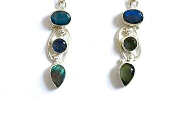 Labradorite Earrings, Dangle drop earrings, labradorite Sterling silver earrings, gemstone Jewellery,labradorite Jewellery, boho earrings,st