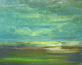 """After The Rain Abstract Landscape Sky Clouds Light Small Acrylic Painting on Paper Small Art 7x5"""" PuzzledbyArtmondo"""