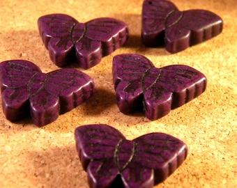 2 beads 27 mm purple howlite butterflies