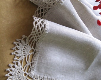 Table runner Rustic kitchen decor Linen table runner Gray linens Wedding table runner Crochet tablecloth Rustic table runner Flax doily gift