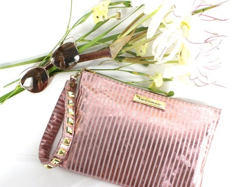 Myrna Pouch White & Pink Striped Leather