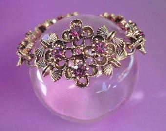 Vintage Rhinestone Bracelet amethyst purple Sale