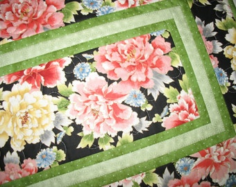 Floral Table Runner, Asian, quilted, fabric from Red Rooster