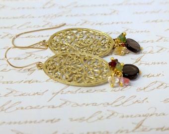 Women's Mother Gift, Gold Earrings ,Ethnic Gold Earrings ,Gold Lace Earrings ,Gold Lace Filigree Earrings , Gold Gemstone Earrings