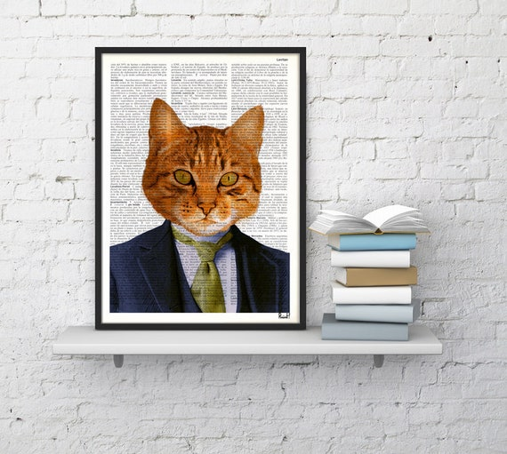business cat DECORATIVE ART-Wall decor, Unique Gift- Cat book print  Cat with suit Poster Print art ,Pet poster ANI066b