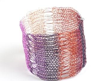 Cuff Bracelet,Wire Crochet Cuff,BOHO jewelry,BOHO Bracelet,Crochet Jewellery,chic cuff,Textile Bracelet,Ethnic Bracelet,Ethnic cuff,purple