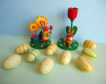Easter bunnies and eggs ornaments / decoration / hand painted wood