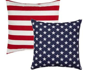Reversible Throw Pillow, Stars and Stripes Pillow, American Flag Pillow, Memorial Day Pillow, Patriotic Decor, Red White Blue Free ship