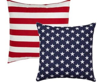 American Flag OUTDOOR Pillow, Reversible Throw Pillow, Stars And Stripes  STUFFED Pillow, Memorial