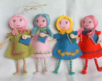 Art Doll Back to School Girl Hanging Ornament, Handmade felt dolls, Colorful felt, bendy dolls holding notebooks
