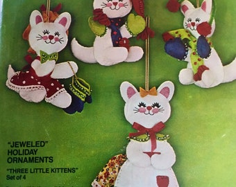 Vintage NEW sealed Bucilla Three Little Kittens Cat jeweled ornament kit set of 4 kit # 2828