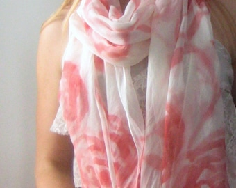Made to Order: Silk Scarf, Hand Painted - Floral Print - Ultra Long, Sheer