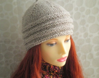 KNITTING PATTERN/ BALMORAL/ Womans Tweed Wool Hat /Knit Straight/Beanie Hat Pattern/ Aran Worsted/ Intermediate/Womans WoolenCap