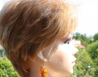 amber earrings, natural Baltic amber, silver earrings, long earrings, statement earrings, wedding jewelry, free shipping