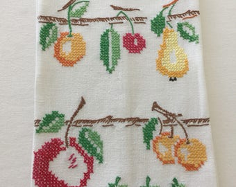 Vintage Fruit Cross Stitch Embroidered Tea Towel ~ Kitchen Towel