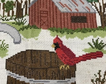SUMMERSALE Completed counted cross stitch design cardinal and barn