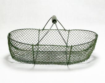 French wire basket, decorator piece, interior decor, vintage wire basket, wire basket, kitchenalia, large french wire basket, home decor 317