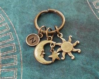Sun Keychain Moon Keychain VERY SMALL Sun Keyring Bronze Moon Keyring Celestial Keychain Space Keychain Star Keychain Brass Sun Keyring