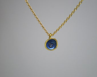 Gold Plated Silver Pendant, Decorated with Blue Enamel
