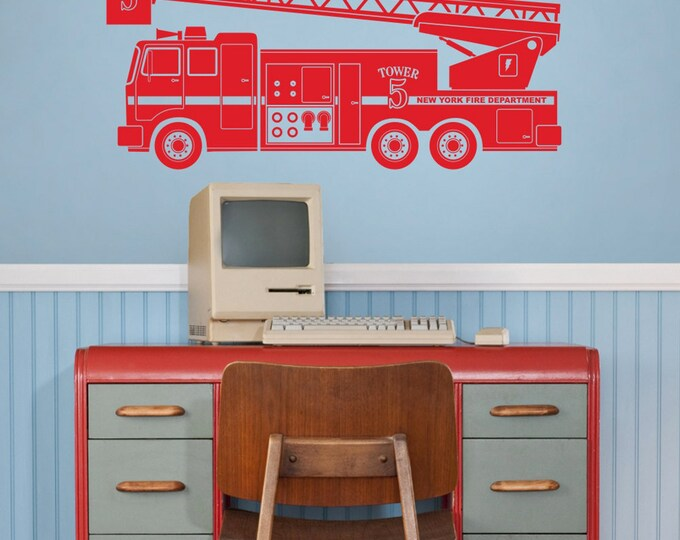 fire truck wall decal, fire truck sticker art, boys room decor, FDNY, fire department art,  custom fire truck