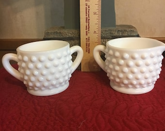Fenton Milk Glass Hobnail Mini Sugar Bowl and Creamer
