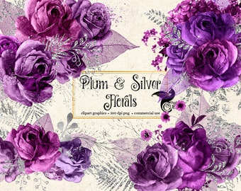 Plum and Silver Floral Clip Art, digital instant download painted watercolor flower png embellishments, purple rose, silver glitter roses