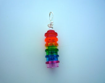Radiant rainbow pendant made from 6 lego® pieces, finished with silver plated findings (chain not included)