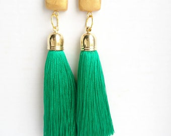 Oscar earrings with polymer clay decor, silk tassel earrings, silk tassel, polymer clay