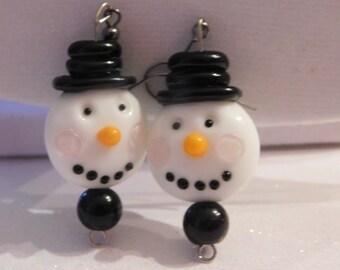 Glass Snowman Earrings * Lampwork Glass Snowman * Artisan Glass Jewelry * Winter Earrings * Cute Snowman Jewelry *