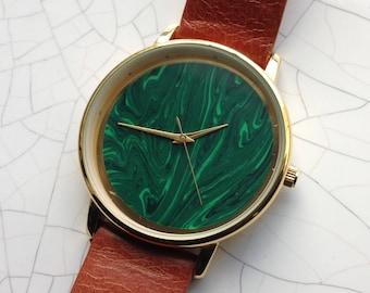 Malachite watch, STONE Watch ,Minimal Watch , Vintage Watch, Mens Watch, Steampunk watch ,Mechanical watch , Gold watch