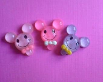 Kawaii mouse shaped lollipop candy cabochon Deco diy charms 3 pcs---USA seller