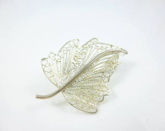 Sterling Silver Brooch, Leaf Brooch, Filigree Brooch, Vintage