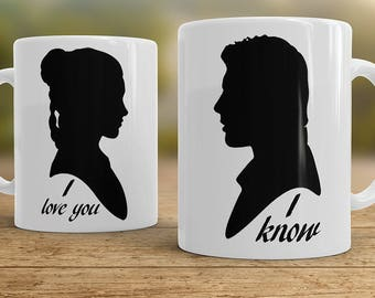 I love You I know mugs, Couples mugs, Star Wars mugs Han Solo and Leia - set of two mugs
